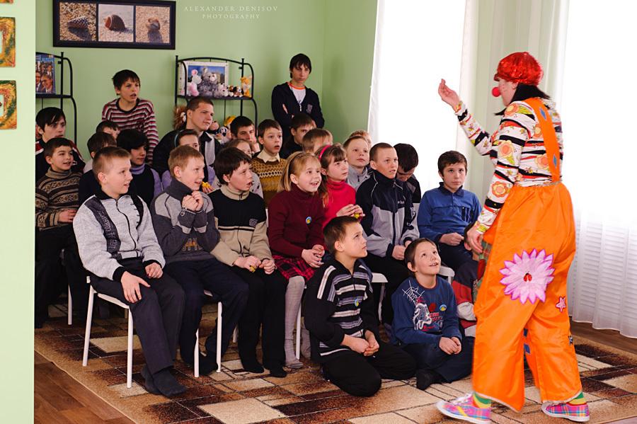 В Новоусманской школе-интернате прошла фото сессия и весёлые игры с клоуном «Клёпой»